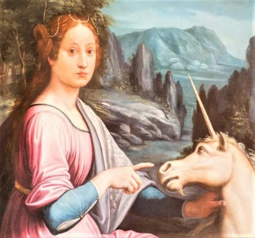 Dama z jednorożcem, fragment, Luca Longhi, zamek Sant'Angelo - domniemany portret Giulii Farnese