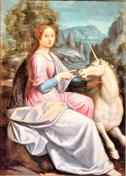 Dama z jednorożcem, Luca Longhi, zamek Sant'Angelo - domniemany portret Giulii Farnese