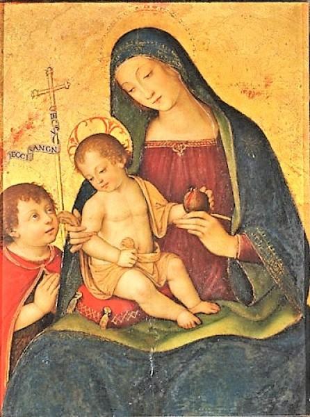 Madonna della Melagrana, Pinturicchio - jeden z domniemanych portretów Gulii Farnese,  Pinacoteca Nazionale, Siena