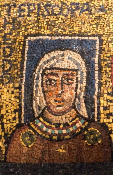 Image of the matron from the IX th century - Episcopa Theodora - mosaic in the Basilica of St. Praxes in Rome