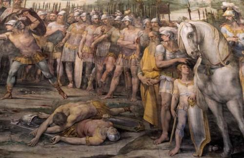 Giuseppe Cesari (Cavalier d'Arpino), Sala degli Orazi e Curiazi, Walka Horacjuszy z Kuracjuszami, fragment, Musei Capitolini