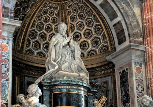 Tombstone monument of Pope Alexander VII, Gian Lorenzo Bernini, fragment, Basilica of San Pietro in Vaticano