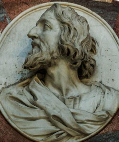 Bazylika Santa Maria del Popolo, kaplica Chigich, pomnik pośmiertny Agostina Chigiego (medalion z wizerunkiem Agostina)