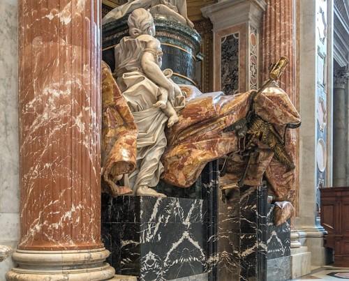 Pomnik nagrobny papieża Aleksandra VII, alegoria Miłosierdzia i Śmierć, projekt Gian Lorenzo Bernini, bazylika San Pietro in Vaticano