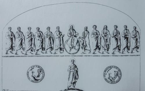 Chrystus w otoczeniu apostołów - rekonstrukcja mozaiki absydy z V wieku, fundacja Rycymera, kościół Sant'Agata dei Goti
