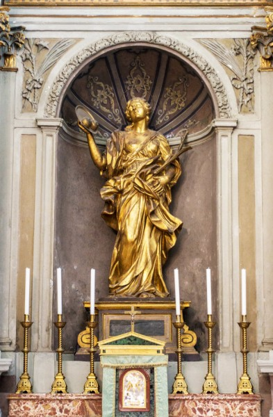 Figure of the patron of the church, 18th century, church of Sant'Agata dei Goti