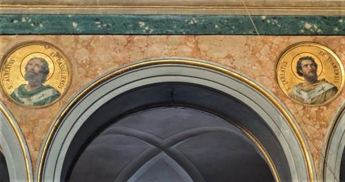 Medallions with images of saints of Irish origin, the interior of the church of Sant'Agata dei Goti