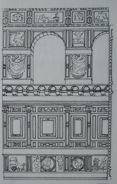 Reconstruction of marble decorations decorating the walls of the temple in the 6th century, the church of Sant'Agata dei Goti