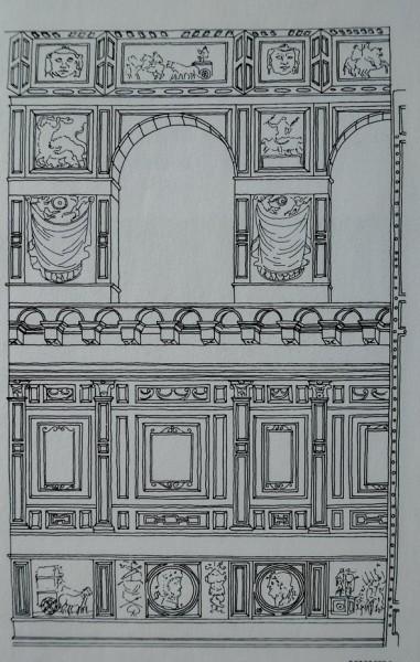 Rekonstrukcja marmurowych dekoracji zdobiących ściany świątyni w VI wieku, kościół Sant'Agata dei Goti