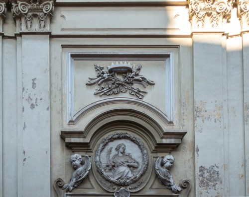 St. Agatha, Church of Sant'Agata dei Goti, bas-relief showing the patron of the temple - above the entrance portal