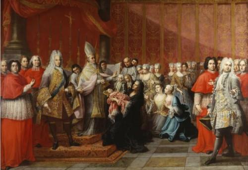 Chrzciny księcia Karola Stuarta w kaplicy Palazzo Muti, Antonio David,1720, zdj. Wikipedia