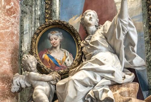 Pomnik nagrobny królowej Marii Klementyny Sobieskiej, fragment, Pietro Bracci, bazylika San Pietro in Vaticano