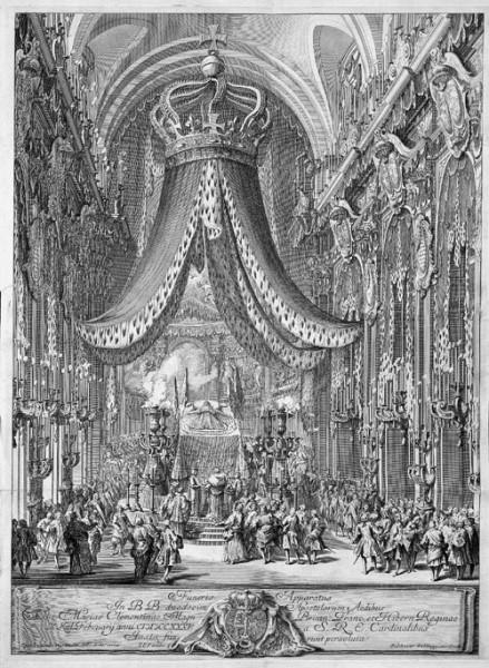 Uroczystości pogrzebowe Marii Klementyny Sobieskiej w bazylice Santi Apostoli, Baldassare Gabbuggiani, zdj. Wikipedia