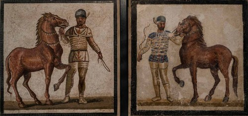 Charioteers and Their Horses, floor mosaic, Museo Nazionale Romano, Palazzo Massimo