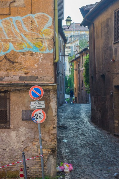 A small street in Trastevere leading to the church of Santa Maria in Cappella