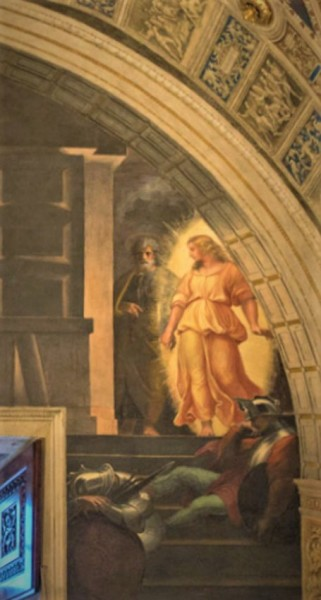 Uwolnienie św. Piotra z więzienia, Rafael i jego warsztat, fragment, Stanza di Eliodoro, pałac Apostolski
