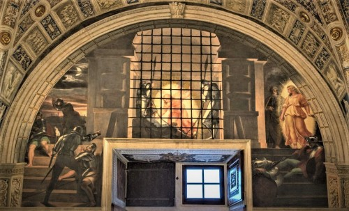 The Deliverance of St. Peter, Raphael, and his workshop, 1514, Stanza di Eliodoro, Apostolic Palace