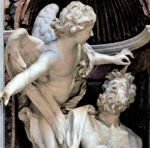 Habakuk z aniołem, fragment, Gian Lorenzo Bernini, bazylika Santa Maria del Popolo, kaplica Chigich