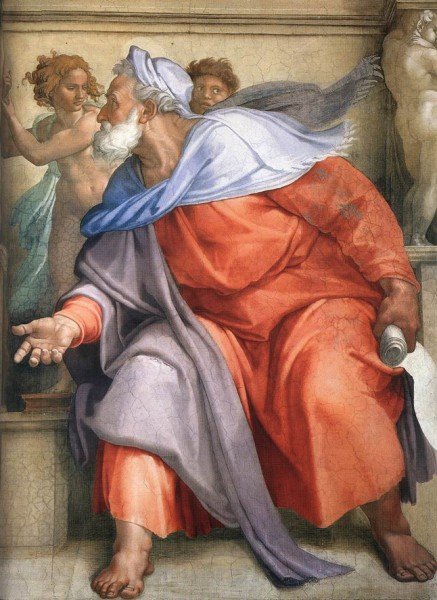 Prorok Ezechiel, Michał Anioł, sklepienie Kaplicy Sykstyńskiej, Pałac Apostolski, zdj. Wikipedia