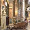 Wnętrze bazyliki Sant'Agostino, po lewej fresk Rafaela