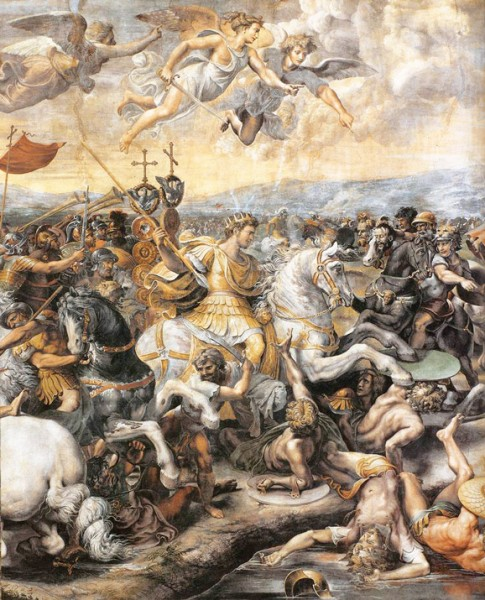 Bitwa na moście Mulwijskim, fragment, Giulio Romano i jego warsztat, Stanza del Constantino, Pałac Apostolski, zdj. Wikipedia