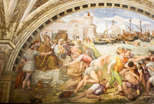 Bitwa pod Ostią i zwycięstwo papieża Leona IV  nad Saracenami, Rafael i jego warsztat, Stanza dell'Incendio di Borgo, Pałac Apostolski