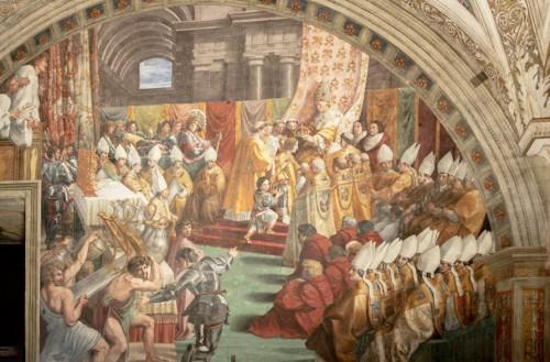 Koronacja Karola Wlk., Rafael i jego warsztat, Stanza dell'Incendio di Borgo, Pałac Apostolski, zdj. Wikipedia