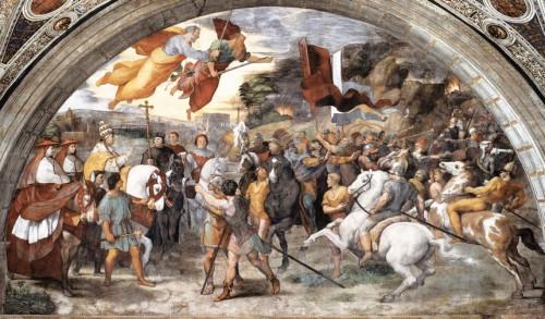 Spotkanie papieża Leona I z Attylą, Rafael i jego warsztat, Stanza di Eliodoro, Pałac Apostolski, zdj. Wikipedia