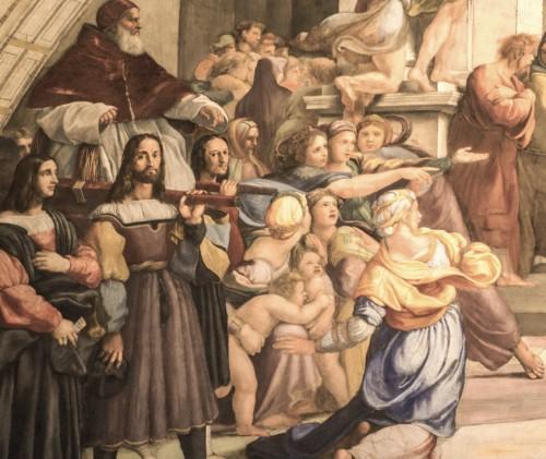 Wypędzenie Heliodora ze świątyni, fragment  ukazujący papieża Juliusza II, Rafael i jego warsztat, Stanza di Eliodoro, Pałac Apostolski