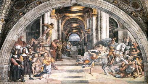 Wypędzenie Heliodora ze świątyni, Rafael i jego warsztat, Stanza di Eliodoro, Pałac Apostolski, zdj.Wikipedia