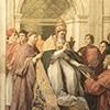 Wizerunek papieża Juliusza II poniżej fresku Cnota i Prawo, Stanza della Segnatura, Pałac Apostolski, Rafael