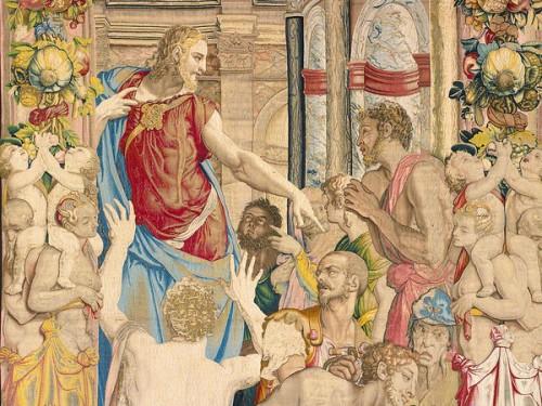 Józef bierze Symeona jako zakładnika, fragment, gobelin wg proj. Bronzina, Palazzo del Quirinale, zdj. Wikipedia