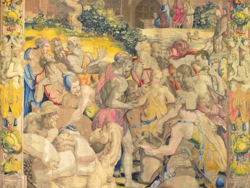Kielich Józefa znaleziony w worku Benjamina, fragment, jeden z gobelinów wg proj. Bronzina, Palazzo Quirinale, zdj. Wikipedia
