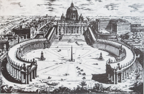 Square and colonnade in front of the Basilica of San Pietro in Vaticano, designed by Gian Lorenzo Bernini