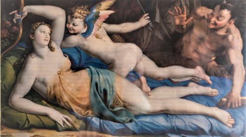 Wenus, Kupidyn i Satyr, Bronzino, wersja obrazu po domalowaniu szat Wenus, dokumentacja - Galleria Colonna, Palazzo Colonna