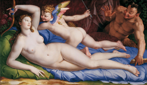 Wenus, Kupidyn i Satyr, Bronzino (właśc. Agnolo di Cosimo di Mariano Tori), Galleria Colonna, Palazzo Colonna, zdj. Wikipedia