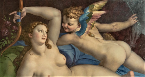 Wenus, Kupidyn i Satyr, fragment, Bronzino, Galleria Colonna, Palazzo Colonna