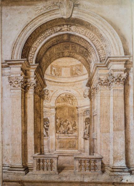 Kaplica Chigich, akwarela, warsztat Berniniego
