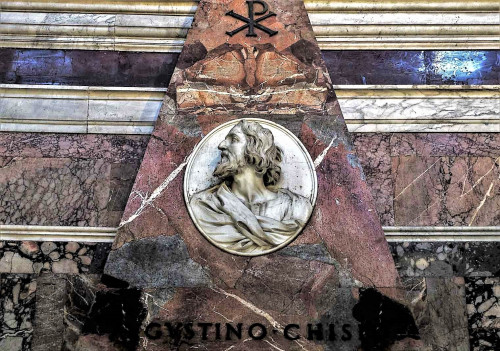 Kaplica Chigich, medalion z portretem Agostina Chigiego, bazylika Santa Maria del Popolo