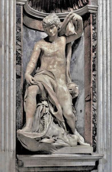 Kaplica Chigich, posąg Jonasza, Lorenzetto, bazylika Santa Maria del Popolo
