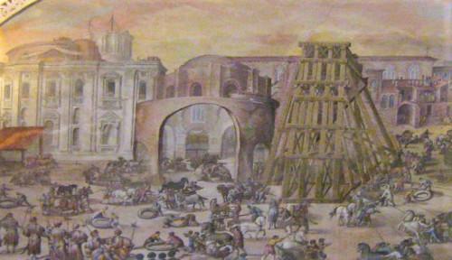 Obelisk Vaticano stawiany na placu św. Piotra przez Domenico Fontanę, fresk, Biblioteka Watykańska
