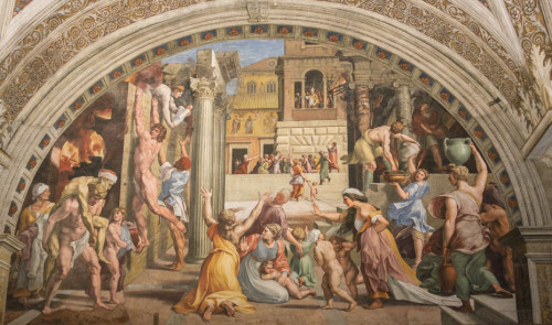 The Fire in the Borgo, Raphael with collaborators, fresco, Stanza dell'Incendio di Borgo, Apostolic Palace