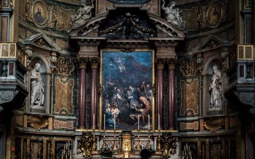Pietro da Cortona, ołtarz główny - Karol Boromeusz prowadzący procesję w Mediolanie, kościół San Carlo ai Catinari