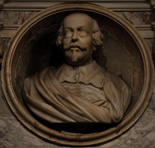 Portret Pietro da Cortony, Portrait of Pietro da Cortona, funerary bust in the crypt of the Church of Sant Luca e Martina