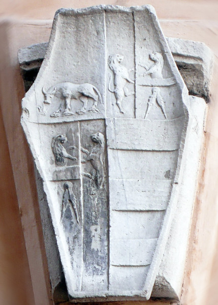 Herb Vanozzy Cattanei nad wejściem do Locandy della Vacca, Vicolo del Gatto, zdj. Wikipedia
