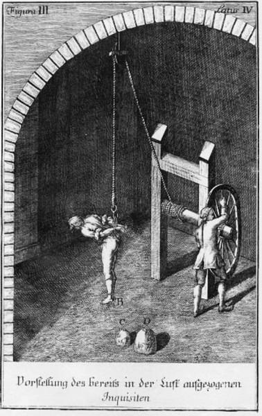 Wahadło - tzw. męka sznura, rycina z Constitutio Criminalis Theresiana,1768, zdj. Wikipedia