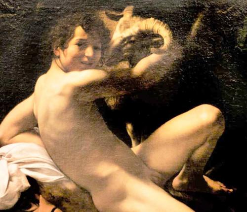 Święty Jan Chrzciciel, fragment, Caravaggio, Musei Capitolini