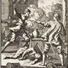Kardynał Innocenzo del Monte strzela w tawernie i zabija dwie osoby, rycina - Jan Luyken, 1667, zdj. Wikipedia