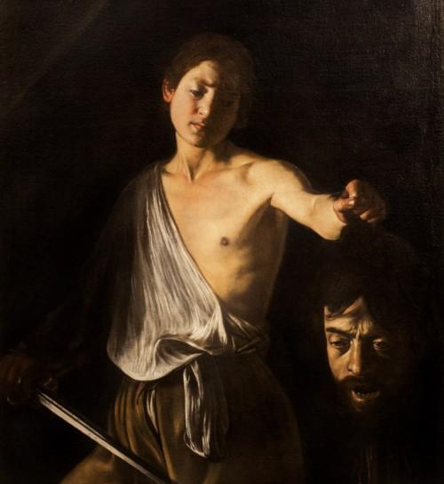 Dawid z głową Goliata, fragment, Caravaggio,  Galleria Borghese