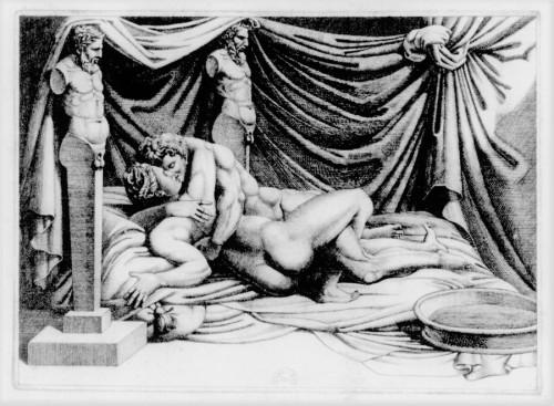 I Modi, ryciny wzbogacone sonetami Aretina, Marcantonio Raimondi, zdj. Wikipedia